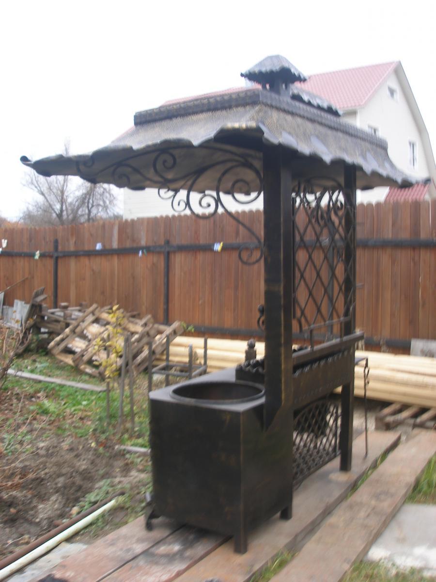 Казан для дачи с крышей своими руками